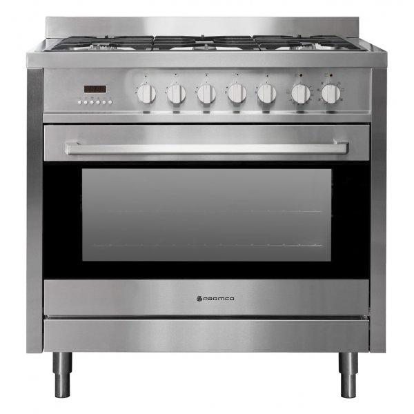 Parmco 90cm SS Freestanding Gas Hob Electric Oven Dual Fuel Cooker With Extendable Legs (AR900-LEG-1)
