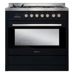 Parmco 90cm Black Dual Fuel Gas Hob Electric Oven Freestanding Cooker (AR900-OBS-1)
