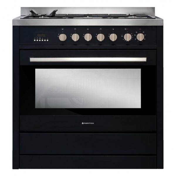 Parmco 90cm Black Dual Fuel Gas Hob Electric Oven Freestanding Cooker (AR900-OBS)