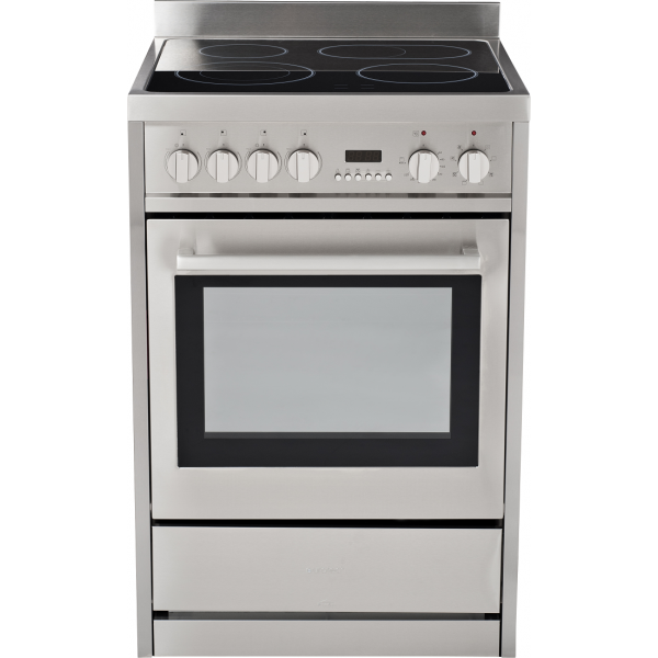 Eurotech 60cm Freestanding Ceramic/Electric Stove with Catalytic Cleaning-White-Black-SS (EUR-FSC60SS)