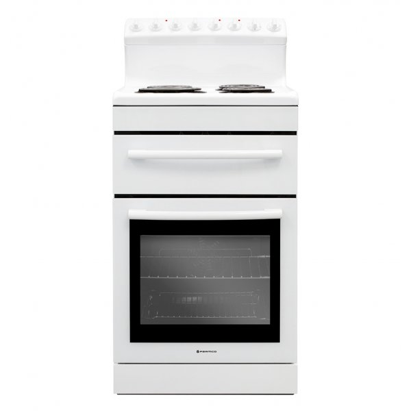 Parmco 54cm White Freestanding Electric Radiant Coil Elements Cooker (FS54R)