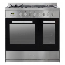 Parmco 90cm Stainless Steel Cooker with Double Ovens and a 5 Burner Gas Hob (FS9S-5-3)