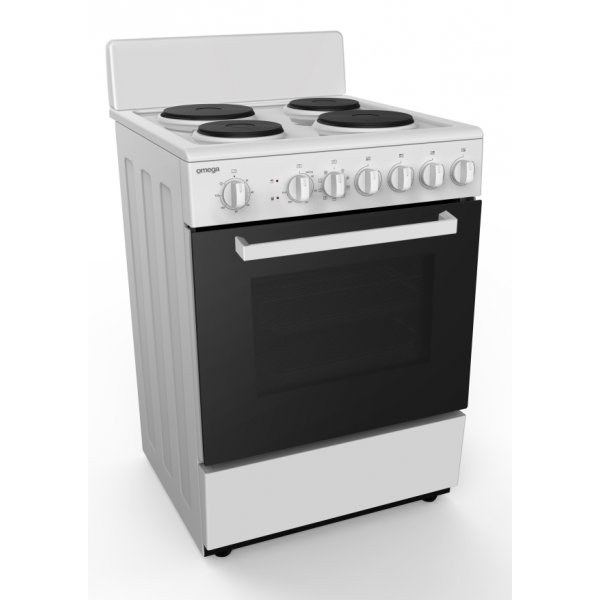 Omega Electric Cooker with 4 EGO Elements & 65L Electric Oven - White - 60cm (OF6062WZ)