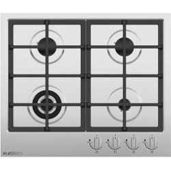 Eurotech 60cm Gas Hob with Wok in Stainless Steel  (EDG-604 IX)