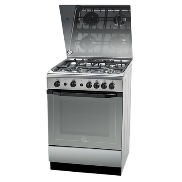 Indesit 60cm Freestanding Gas Hob/Gas Oven Stainless Steel Cooker (I6TG1GXGHEX)