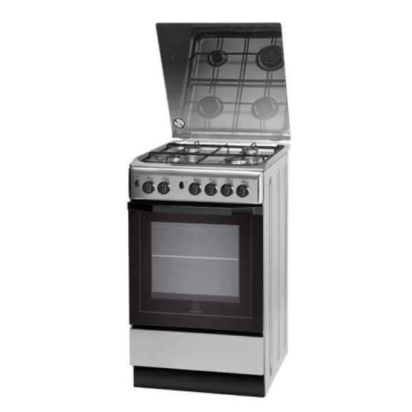 Indesit Gas Hob/Gas Oven Cooker Stainless Steel with Black Glass Lid 50cm - I5GG1(X)
