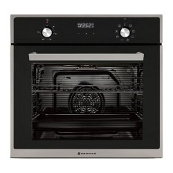 Parmco 60cm Black Glass & Stainless Steel 76L 8 Function Oven with Catalytic Liners  (OX7-6-6S-8-1)