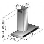 Award 90cm Wall Mount Canopy Stainless Steel/Black Glass Trim Rangehood (CS8-901SI)