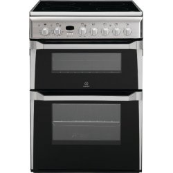 Indesit 60cm Ceramic / Electric Freestanding Double Oven (ID60C2X)