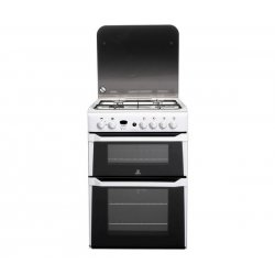 Indesit 60cm Freestanding Gas Hob/Twin Cavity Gas Oven in White (ID60G2W)