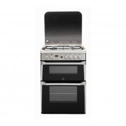 Indesit 60cm Freestanding  Gas Hob/Twin Cavity Gas Ovens in Stainless Steel (ID60G2X)