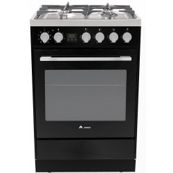 Award 60cm Black Freestanding Gas Hob/Electric 80L Oven with Catalytic Liners (AGE60BL)