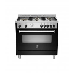 Bertazzoni 90cm Black Freestanding Gas Cooktop & Electric Fan Forced Oven (AMS95L 61L ANE)