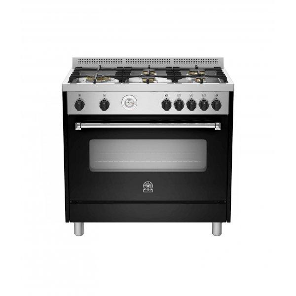 Bertazzoni 90cm Black Freestanding Gas Cooktop & Electric Fan Forced Oven (AMS95L 61L ANE)