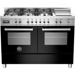 120cm Black Freestanding Bertazzoni Gas Cooktop Electric Oven & Griddle (PRO120 6G MFE D NET)