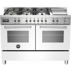 120cm White Freestanding Bertazzoni Gas Cooktop Electric Oven & Griddle (PRO120 6G MFE D BIT)