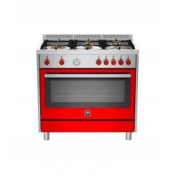 Bertazzoni Prima - 90cm Gas Hob/Electric Oven Dual Fuel Cooker in Gloss Red- RIS95L 61L AXR