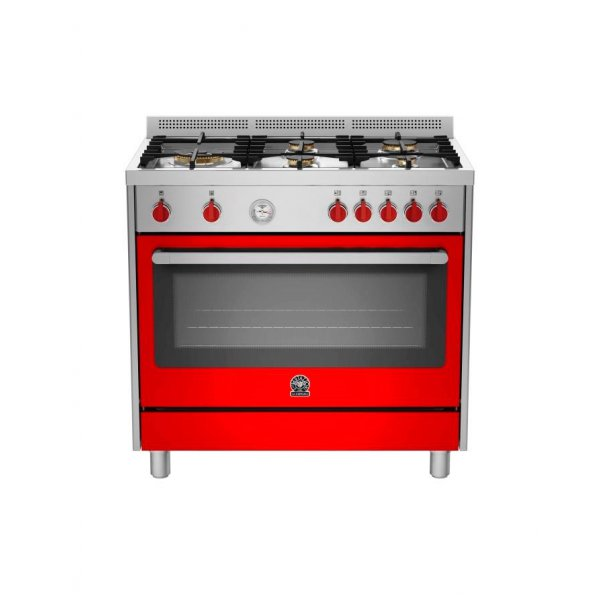 Bertazzoni La Germania - 90cm Gas Hob/Electric Oven Dual Fuel Cooker - RIS95L 61 LAX