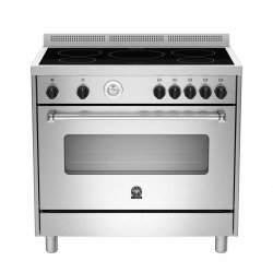 Bertazzoni 90cm Americana Freestanding Induction Cooktop & 142L Fan Forced Oven (AMS9IND 61L AX)