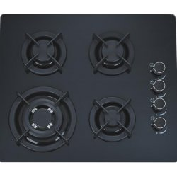 60cm Polo Black Glass Gas Hob with 4 Burners (G4602GCP)