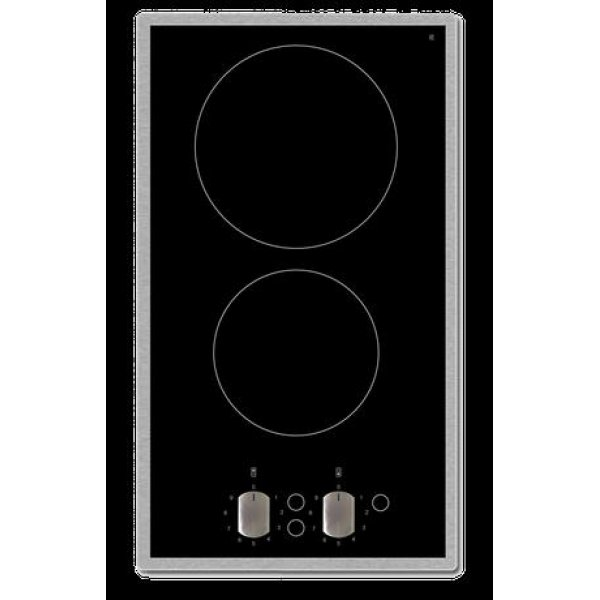 Eurotech 30cm Black 2 Zone Ceramic Cooktop with SS Frame and Knob Controls (ED-CC302KFSS)