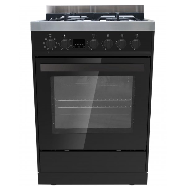 Eurotech 60cm Black Freestanding Gas/Electric 76L Oven with Catalytic Cleaning (ED-EUROGE60BK)