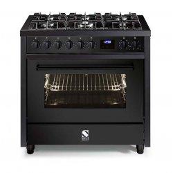 STEEL Enfasi 90cm Matt Black Gas Hob Multifunction Electric Oven Freestanding Cooker (E9F-6-NF)