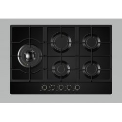 Award 75cm Built-In Black Glass Gas Hob (H703BG)