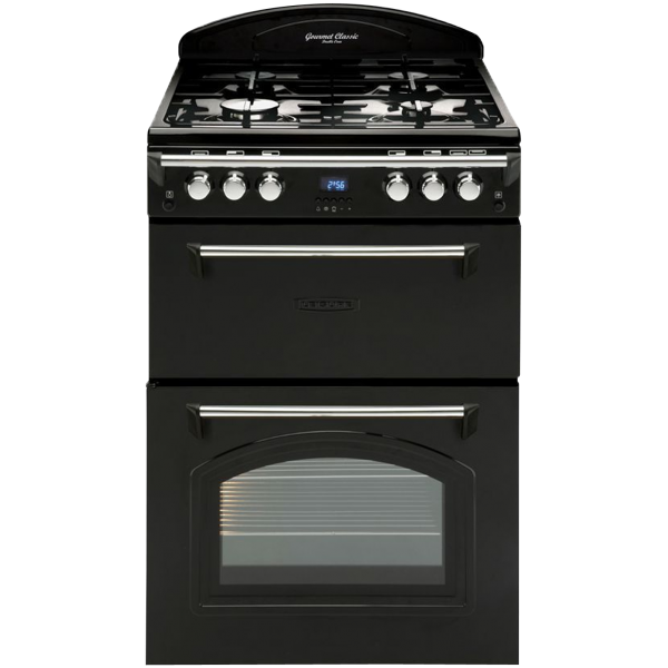 Leisure 60cm Freestanding Gas Hob/Electric Double Oven Cooker in Black (GRB6FVK)