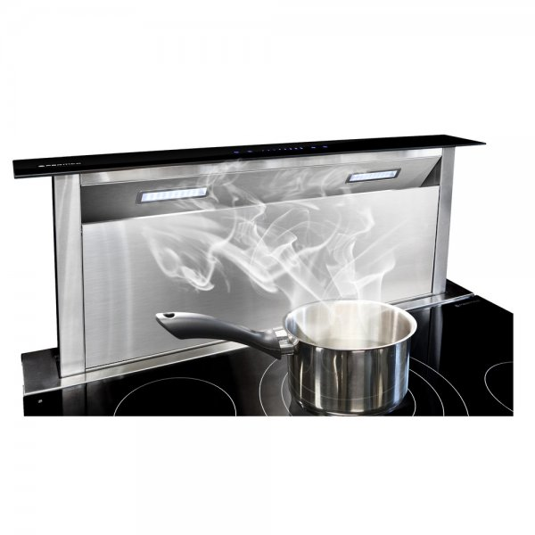 Parmco 90cm Black Glass Panel Rear Riser Downdraft with 1000m3/hr Extraction (DD-900RR-G)