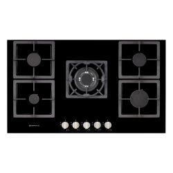 Parmco 90cm Low Profile 5 Burner Black Glass Gas Hob (HO-7-9G-4GW)