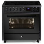 STEEL Enfasi 90cm Matt Black Induction Cooktop Electric Oven Freestanding Cooker (E9F-5FI-NF)