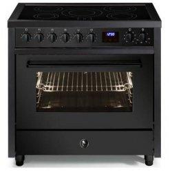STEEL Enfasi 90cm Matt Black Induction Cooktop Electric Oven Freestanding Cooker (E9F-5FI-NF)
