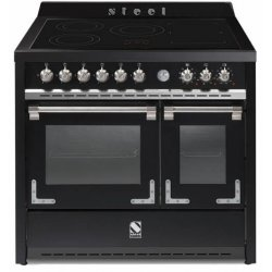 STEEL Oxford 100cm Freestanding Matt Black Induction Hob with One & Half Electric Ovens (X10FF-5FI-NF)
