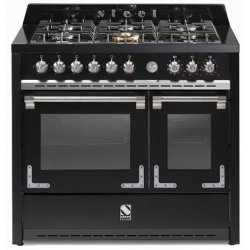STEEL Oxford 100cm Black Gas Hob Double Multifunction Electric Ovens (X10FF-6-NF)
