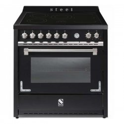 STEEL Oxford 90cm Black Induction Hob 91L Multifunction Electric Oven Freestanding Cooker (X9F-5FI-NF)