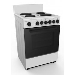 Omega Electric Cooker with 4 EGO Elements & 80L Electric Oven - White - 60cm (OF6146WB)